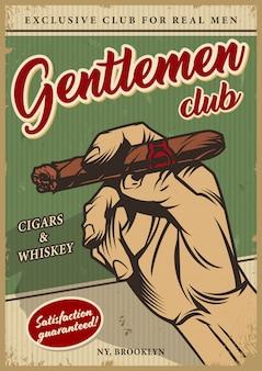 Buntes plakat des weinlese-männerclubs