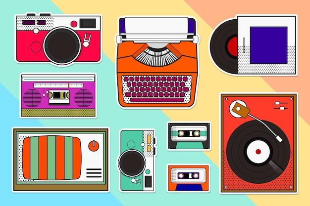 Buntes pop-art-objekt-vintage-aufkleber-set