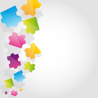 Buntes puzzlespiel mit platz für kopienvektorillustration