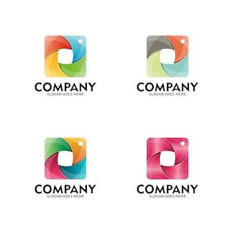 Buntes quadratisches kamera-auslöser-logo. quadratische fotokamera neues design - vektor