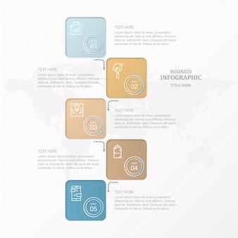Buntes quadratisches kasten infographics und ikonen für anwesendes geschäftskonzept.