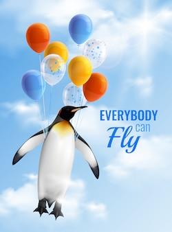 Buntes realistisches plakat mit bild des pinguins, der durch luftballons fliegt und motivationstext, den jeder fliegen kann