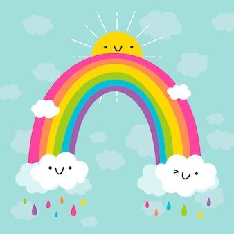 Buntes regenbogenflachdesign