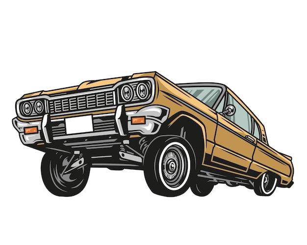 Buntes retro-autokonzept des niedrigen reiters in der lokalisierten illustration der weinleseart