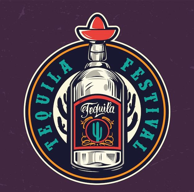 Buntes rundes etikett des mexikanischen tequila-festivals