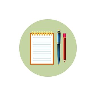 Buntes rundes icon-notizbuch mit stift und bleistift, vektorillustration