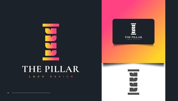 Buntes säulen-logo-design, geeignet für kanzlei-, universitäts-, anwalts- oder bürologos. säulensymbol oder symbol