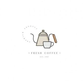 Buntes schablonenlogo oder emblem - café und café. lebensmittelikone. beschriften sie im trendigen linearen stil auf weißem hintergrund.