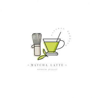 Buntes schablonenlogo oder -emblem - kaffee matcha latte. lebensmittelikone. beschriften sie im trendigen linearen stil auf weißem hintergrund.