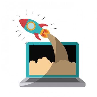 Buntes schattenbild der laptop-computers und der weltraumrakete ohne kontur und schattierung