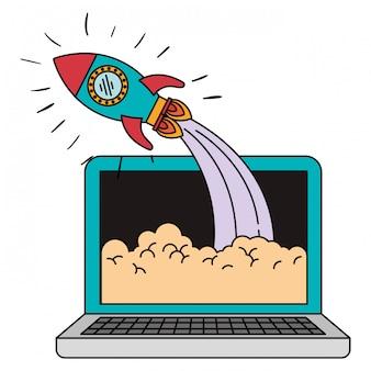 Buntes schattenbild der laptop-computers und der weltraumrakete