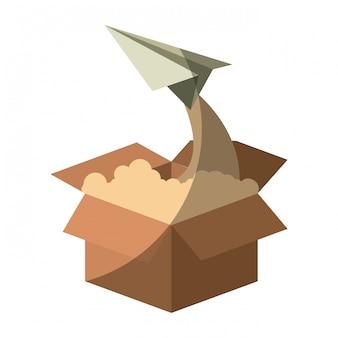 Buntes schattenbild der pappschachtel und des papierflugzeugfliegens ohne kontur und schattierung