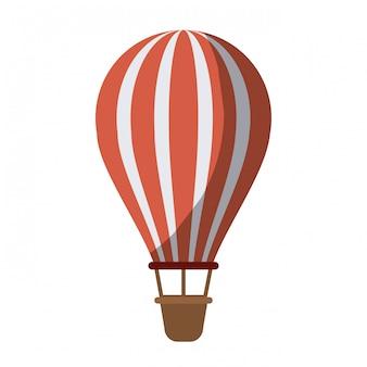 Buntes schattenbild des heißluftballons ohne kontur und schattierung