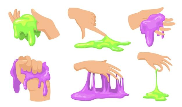 Buntes schleimset. menschliche hände berühren, halten und nehmen lustige hausgemachte schleimige spielzeuge für kinder.