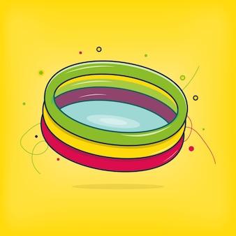 Buntes schwimmbad für kinder oder kinder, um schwimmen zu lernen vector icon illustration