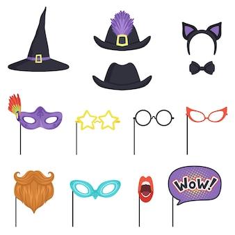 Buntes set mit verschiedenen karnevalsmasken und hüten