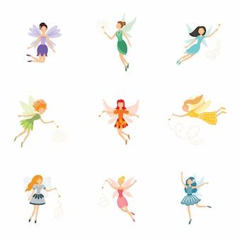 Buntes set von niedlichen mädchenfeen mit zauberstäben und langen haaren, die in hübschen kleidern tanzen