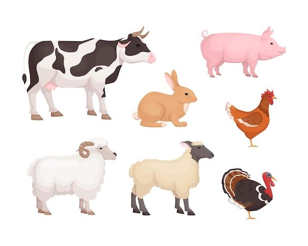 Buntes set von nutztieren. inländische viehkuh, schwein, kaninchen, truthahn, huhn, schaf, lammseitenansicht. verschiedene landwirtschaftliche nutztiere. vektorkarikatur der landwirtschaftlichen und veterinärmedizinischen fauna
