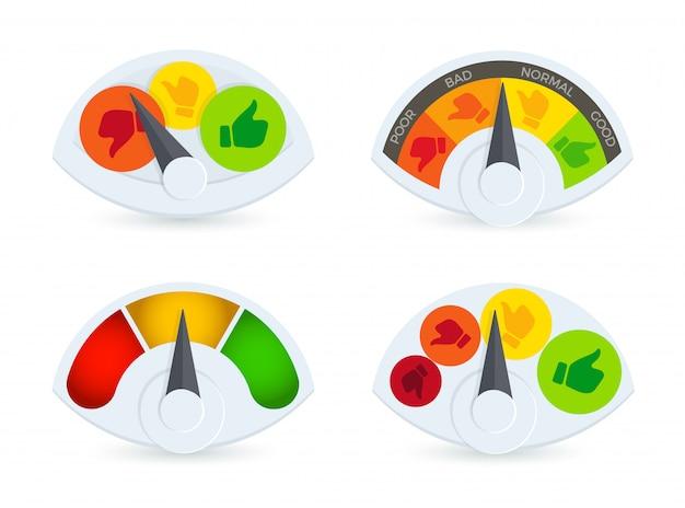 Buntes speedomeret, barometer, tankanzeige-logo-set. sammlung von indikatoren für die überprüfung der geschäftsleistung. daumen hoch und runter fortschrittssensorsymbole.