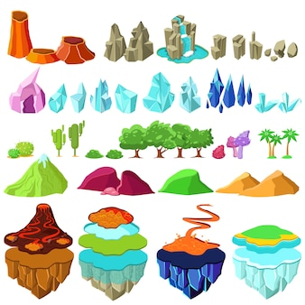 Buntes spielinseln-landschaftselement-set