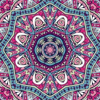 Buntes stammes-ethnisches festliches abstraktes blumenmuster. geometrisches gewirrmandala