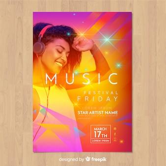 Buntes steigungsmusikfestivalplakat mit bild