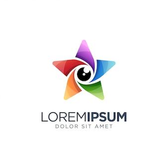 Buntes stern-linsen-logo