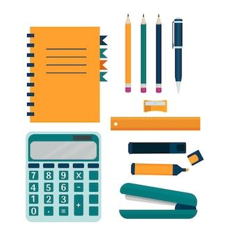 Buntes stilvolles set büroausstattung stift bleistift notizbuch marker bleistiftspitzer rechner