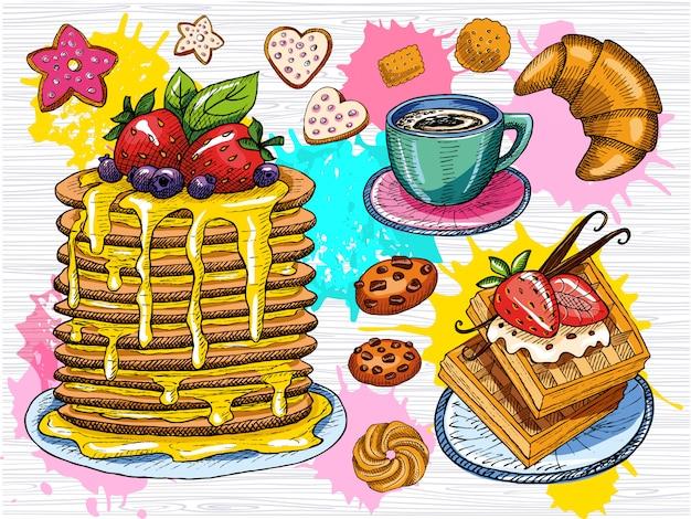 Buntes süßes frühstücksset. panckakes, crepes, waffie, tasse kaffee, kekse, erdbeere, schokolade, desserts, vanillesticks, croissant. skizzenstil, farbspritzer. handgemalt
