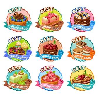 Buntes süßwarengeschäft-aufkleber-set