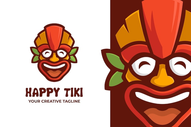 Buntes tiki-festival-masken-karikatur-maskottchen-logo