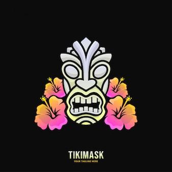 Buntes tiki-masken-logo