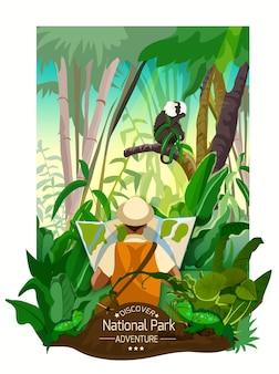 Buntes tropisches waldlandschaftsplakat