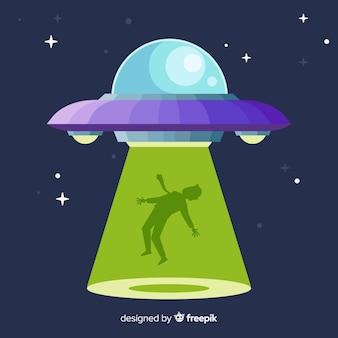 Buntes ufo-abduktionskonzept mit flachem design