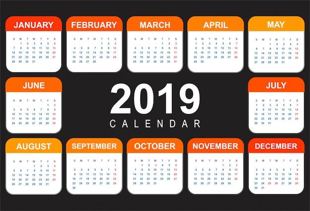 Buntes vorlagendesign des abstrakten kalenders 2019