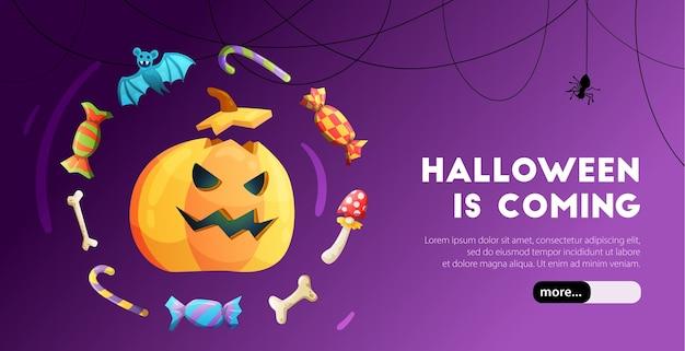 Buntes web-banner der halloween-feier mit kürbiskopf-fledermausknochen auf lila