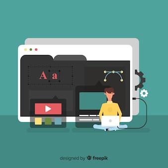 Buntes Webdesignkonzept mit flachem Design