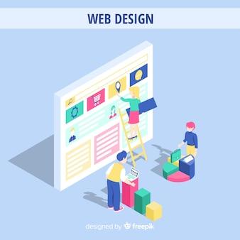 Buntes webdesignkonzept mit isometrischer perspektive