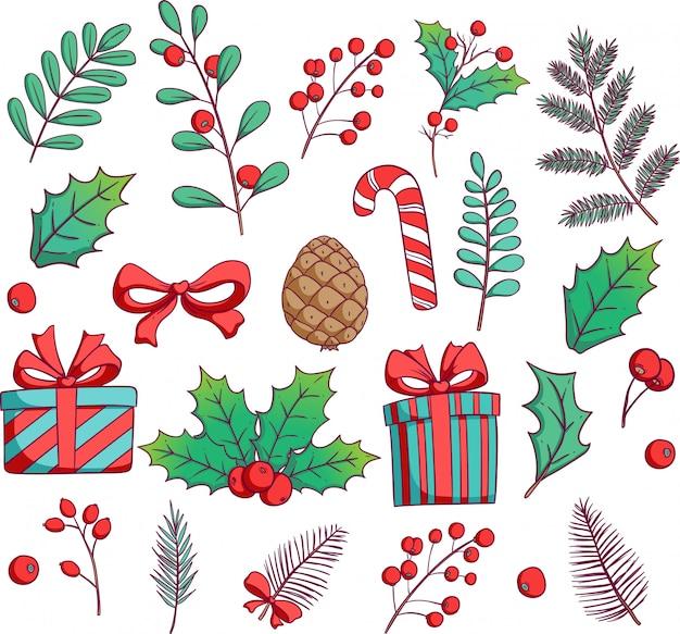 Buntes weihnachtslaub mit der hand gezeichnet oder gekritzelart