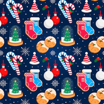 Buntes weihnachtsnahtloser vektorhintergrund mit dekorationen