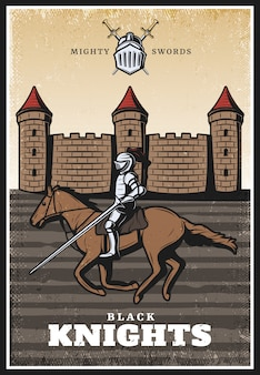 Buntes weinlese-mittelalterliches plakat