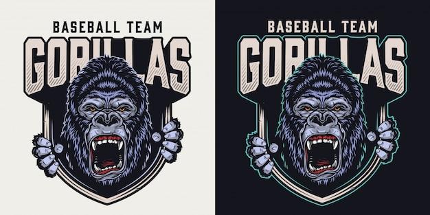 Buntes weinleseemblem des baseballteams