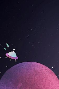 Buntes weltraumaquarellgekritzel mit einem ufo auf schwarzem hintergrund
