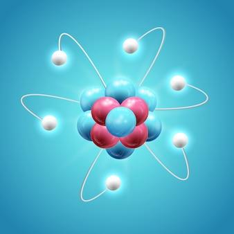 Buntes wissenschaftliches entwurfskonzept mit realistischem leuchtendem modell des atoms auf blau isoliert