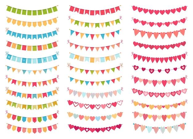 Bunting flags kollektion für dekorationsparty, feier, geburtstag oder festival, karnevalsveranstaltung hängendes banner. vektor-illustration