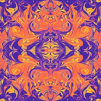 Buntviolettorangegelb gespiegelte hand gezeichnete ebru papiermarmorierung flüssige farbe kunstwerk dekoration textur hintergrund nahtloses muster