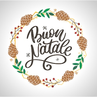 Buon natale. frohe weihnacht-kalligraphie-schablone auf italienisch. gruß-karten-schwarz-typografie auf weiß. hand gezeichnete beschriftung.