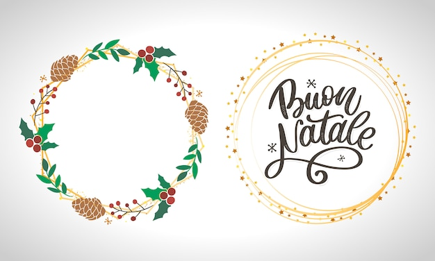 Buon natale. frohe weihnacht-kalligraphie-schablone auf italienisch.