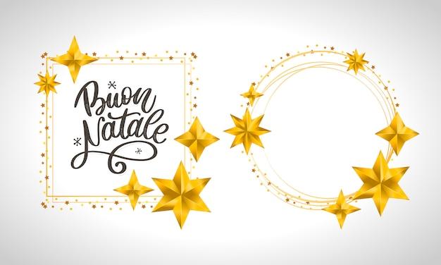 Buon natale. frohe weihnacht-kalligraphie-schablone in der italienischen karte mit leerem kreisrahmen