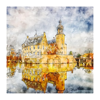 Burg gemen castle germany aquarell skizze hand gezeichnete illustration
